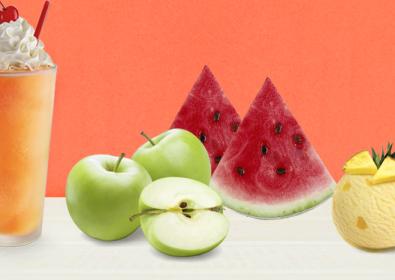 سموزي فيروز البطيخ و التفاح مع الايس كريم و الاناناس