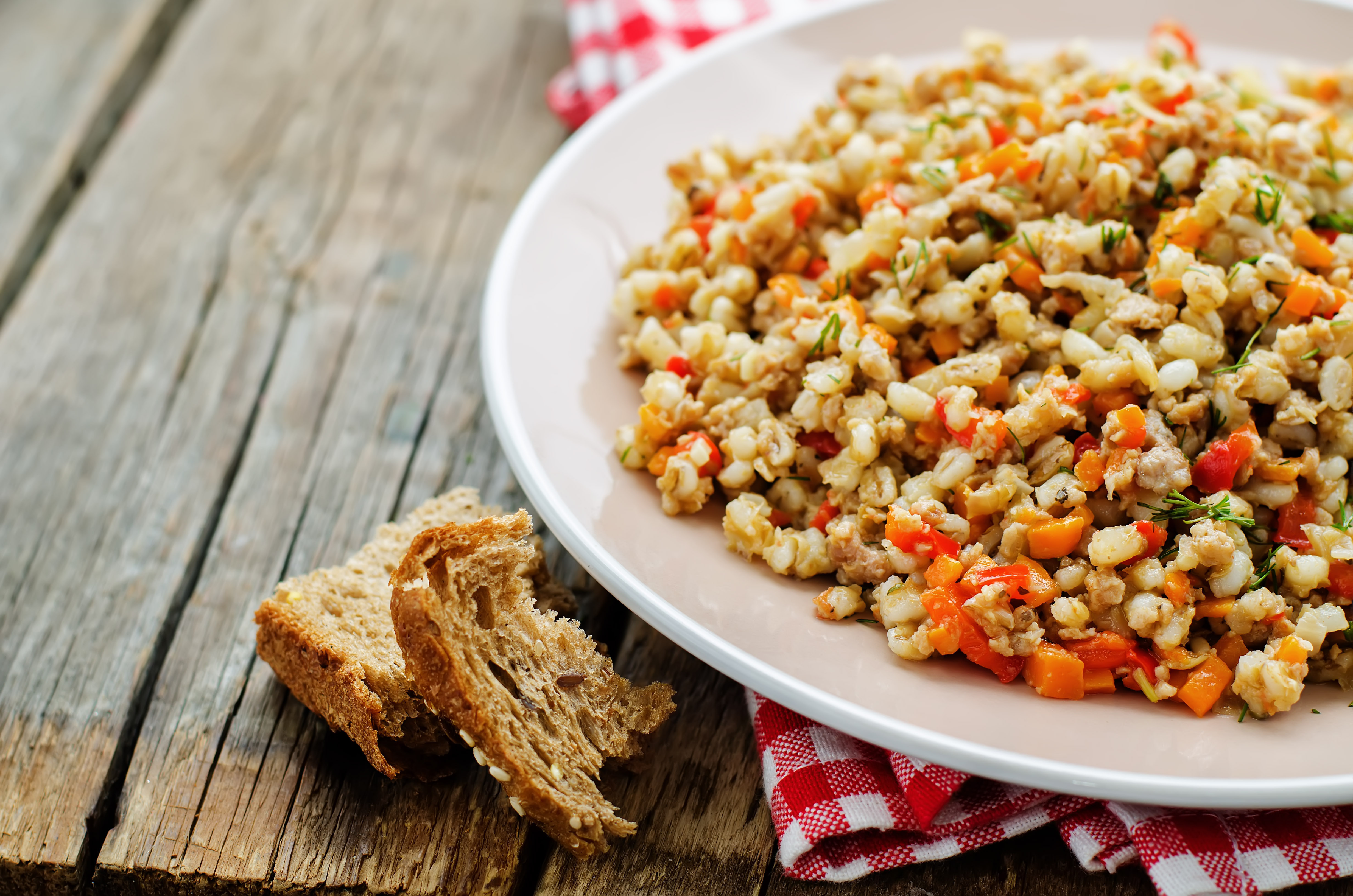 Barley Salad with Peaches and Pickled Onions